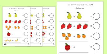 Kleine Raupe Nimmersatt Arbeitsblatt: Erstes Zählen und Addieren