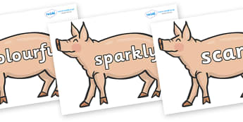 Wow Words on Pigs to Support Teaching on Pig in the Pond - Wow words, adjectives, VCOP, describing, Wow, display, poster, wow display, tasty, scary, ugly, beautiful, colourful sharp, bouncy