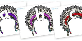 Phoneme Set on Headdresses - Phoneme set, phonemes, phoneme, Letters and Sounds, DfES, display, Phase 1, Phase 2, Phase 3, Phase 5, Foundation, Literacy