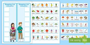 Shopping Lists and Food Cards English/German - groceries, supermarket, trolley, EAL, German, English-German, German-translation
