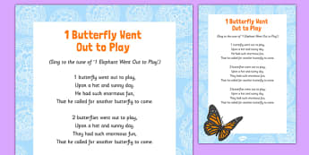1 Butterfly Went Out to Play Song - butterfly, life cycle, play, song, went out