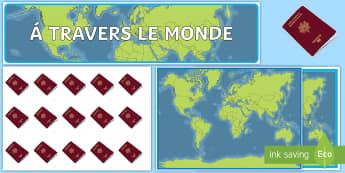 Pack d'affichage : à travers le monde - décoration, voyages, passeports, récompense, monde,French
