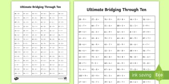Ultimate KS1 Bridging Through Ten Activity Sheet - Home Education Maths Resources, bridging, ones, tens, Worksheet Keywords, two digit number, year 2 a