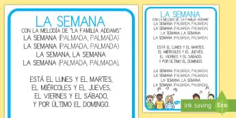 Póster: Canción de los días de la semana - días de la semana, canción de los días de la semana, Spanish