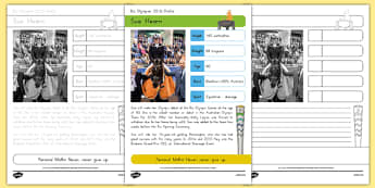 Australian Rio Olympian Sue Hearn Handwriting Practice Activity Sheets-Australia, worksheet