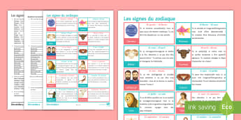 Horoscope Differentiated Reading Comprehension Activity French - adjectives, personality, future, tense, new, year, horoscope, nouvel, an,,French