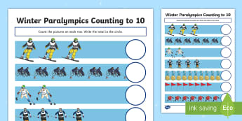 Winter Paralympics Counting to 10 Activity Sheet - worksheet, Sporting events, international Events, Special Educational Needs, South Korea, PyeongChan