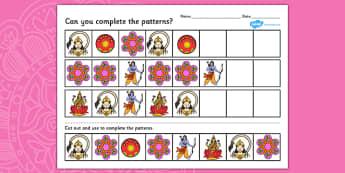 Diwali Complete the Pattern Worksheet - patterns, hinduism, RE