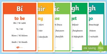 Positive and Negative Briathra Neamhrialta Past, Present and Future Tense Gaeilge  - briathara, verb, verbs, grammar, irish positive, negative