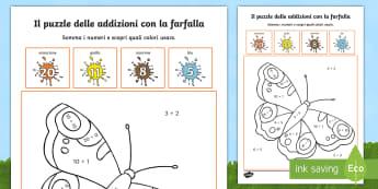 Le addizioni della farfalla Puzzle - colora, colorare, materiale, scolastico, matematica, italiano, italian, addizioni