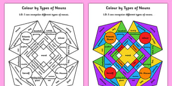 Colour by Types of Nouns - colour, types of nouns, nouns, types, english