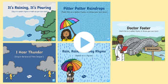 Weather Songs and Rhymes PowerPoints Pack - weather, meteorology, singing, song time, sunny, raining, rainy, sunshine, nursery rhymes