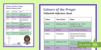 Colours of the Prayer Tablecloth Reference Display Poster - Classroom Management and Organization, Prayer Table Cloth, liturgical calendar, Christian, Catholic.