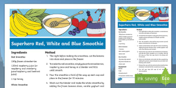 Superhero Red, White, and Blue Smoothie Recipe - Superheroes, superhero, Captain America, drinks, cooking, cookery club, snack, marvel