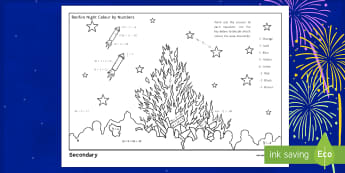 Bonfire Night Colouring Activity Sheet - Algebra, equation, guy fawkes, solve, solving, worksheet, fireworks, end of term, celebration