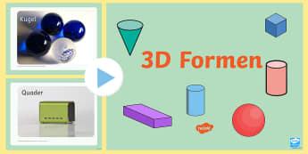 3D Formen PowerPoint Präsentation - Geometrie, Mathe, Figuren, Körper, Inhalt, Fläche, Alltag,,German