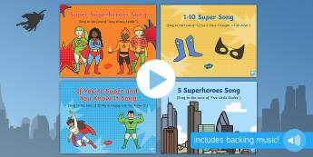 Superheroes Songs and Rhymes PowerPoints Pack - Superheroes, superhero, superman, batman, spiderman, singing, songtime, super heroes