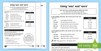 Was and Were Rules and Quiz Sheets - was, were, rules, quiz, sheet, activity, ks2