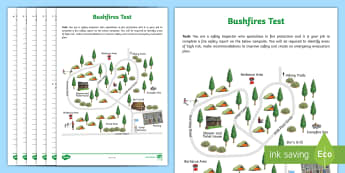 Bushfires Worksheet / Activity Sheet Test -  climatic conditions,  coast,  inland, country, rural Australia, ACHASSK113, fire, natural disasters