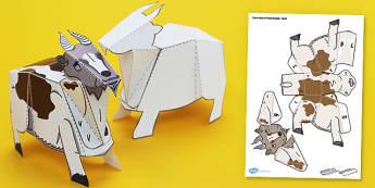 Farm Animal Paper Model Goat - farm, animal, paper model, goat