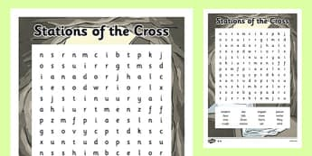 Stations of the Cross Word Search - stations of the cross, easter, word search