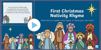 First Christmas Nativity Rhyme PowerPoint - first christmas, christmas, nativity, rhyme, powerpoint