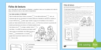 Social Networks and Happiness Activity Sheet Spanish - Spanish, Reading, Comprehensions,social, media, facebook, gap, fill, activity, sheet, technologies,