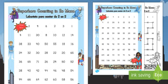 Superhero-Themed Counting in 2s Maze US English/Spanish (Latin) - superhero, counting, count, maze, 2,counting in2s,countng,couting,coutning,superheor,supehero, xount