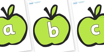 Phoneme Set on Apples - Phoneme set, phonemes, phoneme, Letters and Sounds, DfES, display, Phase 1, Phase 2, Phase 3, Phase 5, Foundation, Literacy