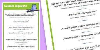 Cuvinte înțelepte - Poster - Cuvinte înțelepte, Poster - citate celebre, fraze celebre, citate, citate motivatoare, motivational, materiale, materiale didactice, română, romana, material, material didactic