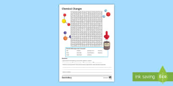 Chemical Changes Word Search  - neutralisation, electrolysis, anode, cathode, reactivity
