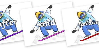Connectives on Snowboarding - Connectives, VCOP, connective resources, connectives display words, connective displays