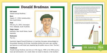 Sir Donald Bradman Fact File - Cricket, Australia, Donald Bradman, batsman, the don, fact file, factfile