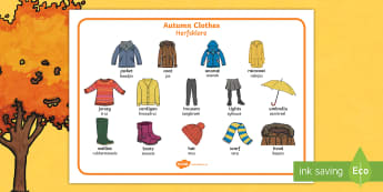 Autumn Clothes Word Mat English/Afrikaans - weather, seasons, cold, chilly, wind, leaves, weer, EAL