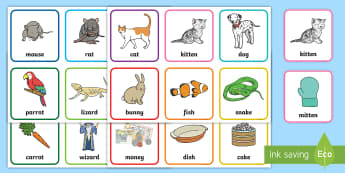 Pets Rhyming Pairs Game - EYFS, Early Years, KS1, Pets, Animals, National Pet Month, Literacy, English, rhyming words, rhyming