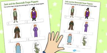 Jack and the Beanstalk Finger Puppets - finger, puppets, jack