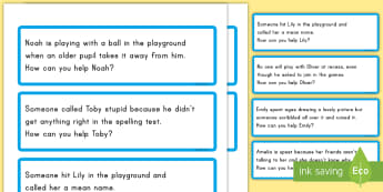 Bullying Scenario Discussion Cards - bully, special education, bullying, mean, teasing, cards, emotions