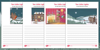 Ten Little Lights Setting Description Activity Sheets - Twinkl Originals, Fiction, Christmas, Winter, Snow, Cold, EYFS, KS1, worksheets, Independent Writing