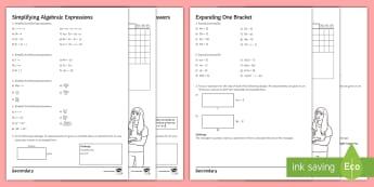 Algebra Unit 1 Homework Activity Pack - simplify, expression, algebra, kS3, bracket, worksheet, homework, area, expand, simplify, indices