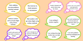 Year 4 Maths Assessment Targets on Speech Bubbles - maths, target