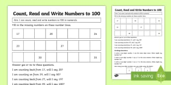 Year 1 Count Read and Write Numbers Maths Mastery Worksheet / Activity Sheet - reason, explain, solve problems, shanghai, singapore, fluency, reasoning, problem solving, number ta