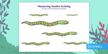 Measuring Snakes Activity - EYFS, Early Years, KS1, Key Stage 1, jungle, forest, rainforest, reptiles, Maths, Numeracy, measure,