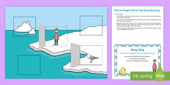 Find the Penguin Lift the Flap Scene Busy Bag Prompt Card and Resource Pack - Lost and Found, Oliver Jeffers, polar regions, Lost Penguin, arctic, antarctic, baby, babies, pengui