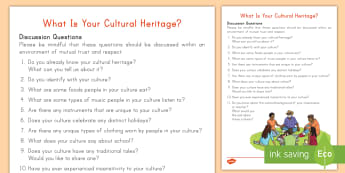 What is Your Cultural Heritage Discussion Questions Activity - cultural heritage, Indigenous Peoples Day, Native Cultures, First Cultures, First Nations, Ethnicity