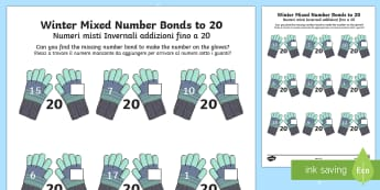 Winter Themed Mixed Number Bonds to 20 Activity Sheet English/Italian - Winter 2016/17, maths, early years, numeracy, year 1, one, ks1, number, bonds, 20, twenty, gloves, m