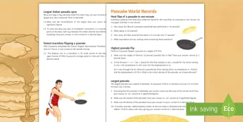 Pancake World Records Activity Sheet - distance, speed, time, area, volume, density, similar, bounds, radius, worksheet