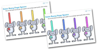 Easter Bunny Finger Spaces - finger spacers, finger, spacers, reading, easter, easter bunny, easter rabbit, easter rabbit finger spacers, rabbit finger spacers, bunny finger spacers, writing, reading and writing, writing aid, learning to write