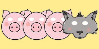 3 Little Pigs Masks - 3 little pigs, role play masks, traditional tales, tale, fairy tale, pigs, wolf, straw house, wood house, brick house, huff and puff, chinny chin chin