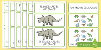 Tarjetas para lectoescritura: Frases simples - Los dinosaurios - Dinosaurios, pre-historia, dinos, tiranosaurio, estegosaurio, triceratops, proyectos, aprendizaje ba