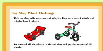 A4 Toy Shop Wheel Maths Challenge Poster - Toy, Shop, Wheel, Math